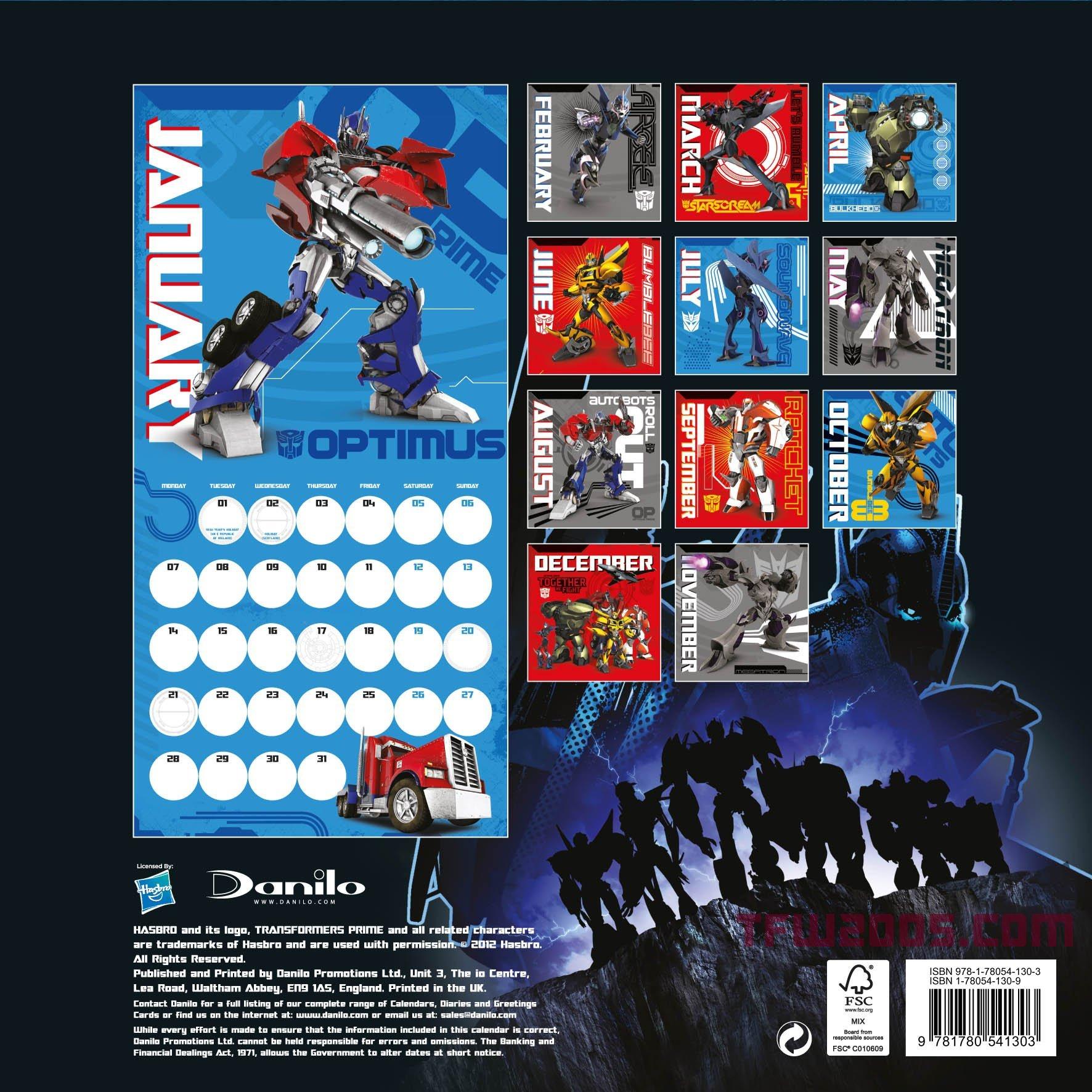 transformers prime 2013 licensed merchandise calendar