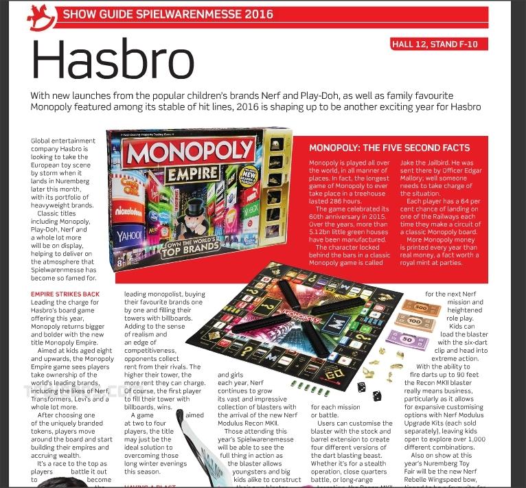 Hasbro Nuremberg Toy Fair Monopoly Empire Transformers