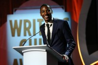 LOS ANGELES, CA - FEBRUARY 13:  Write/actor Jerrod Carmichael speaks onstage during the 2016 Writers Guild Awards L.A. Ceremony at the Hyatt Regency Century Plaza on February 13, 2016 in Los Angeles, California.  (Photo by Phillip Faraone/Getty Images,)