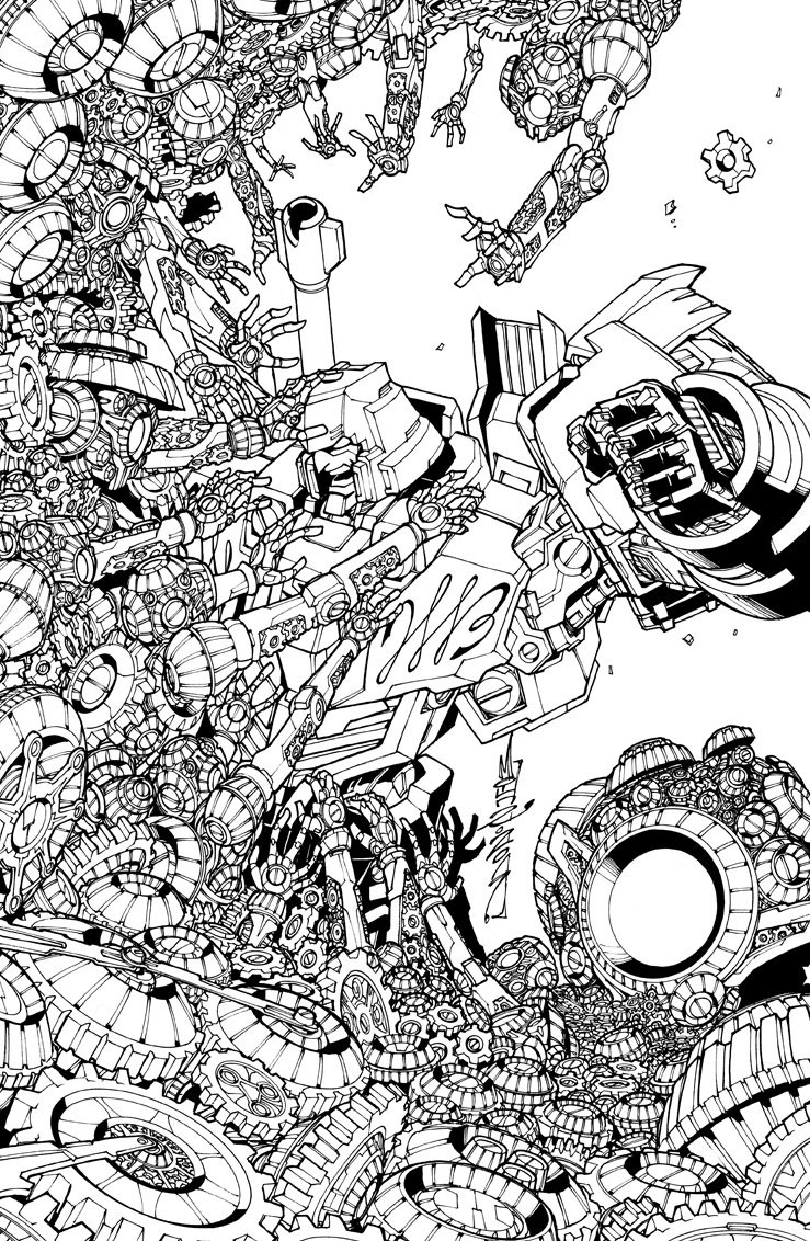 Line Drawing Newspaper : Transformers lost light subscription cover a line art