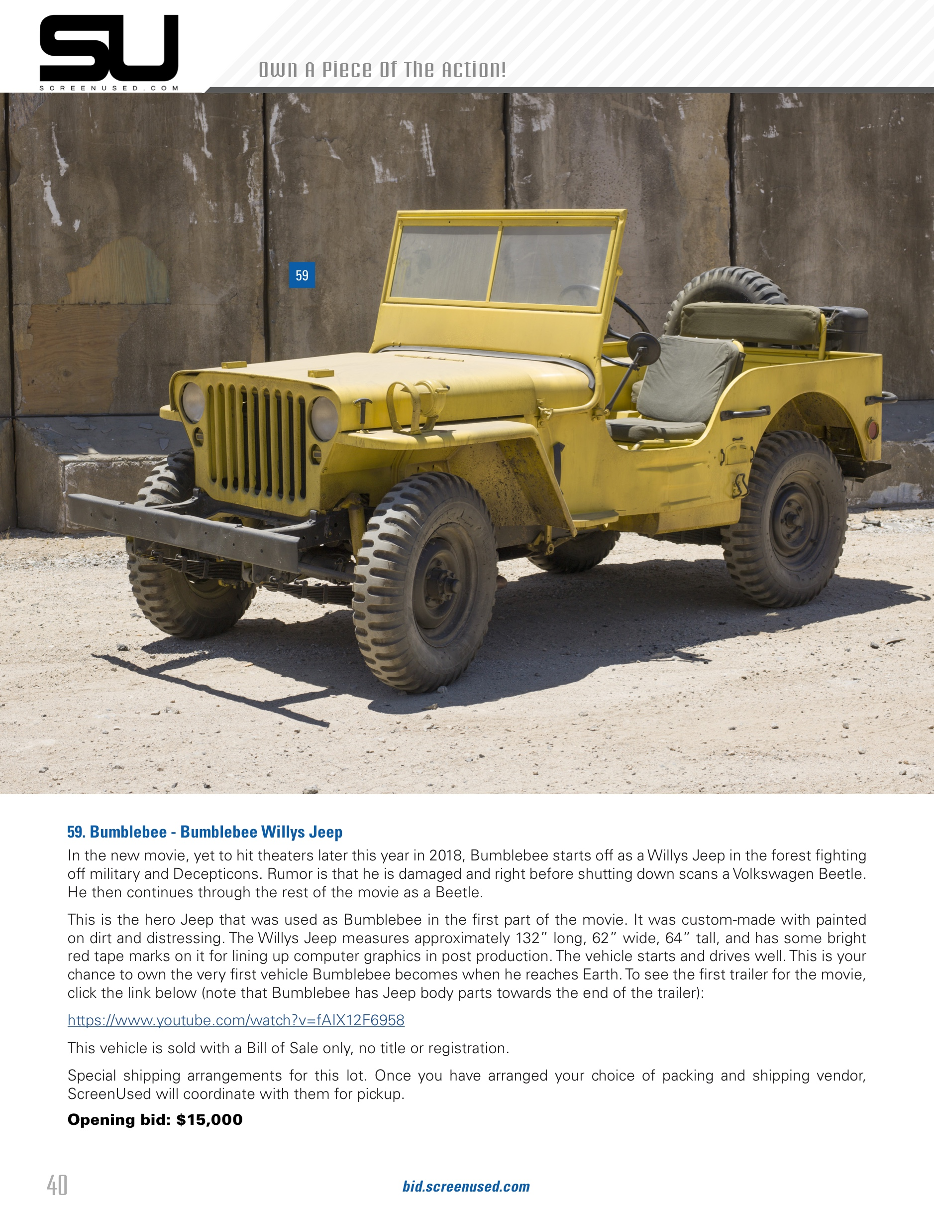 2018 Willys Jeep >> Bumblebee: The Movie - Willys Jeep Bumblebee For Auction - Transformers News - TFW2005