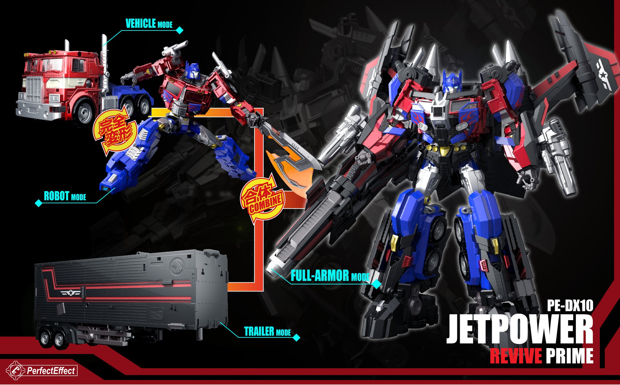 PerfectEffect 24cm Transformer PE DX10Jetpower Revive Prime Action Figure New