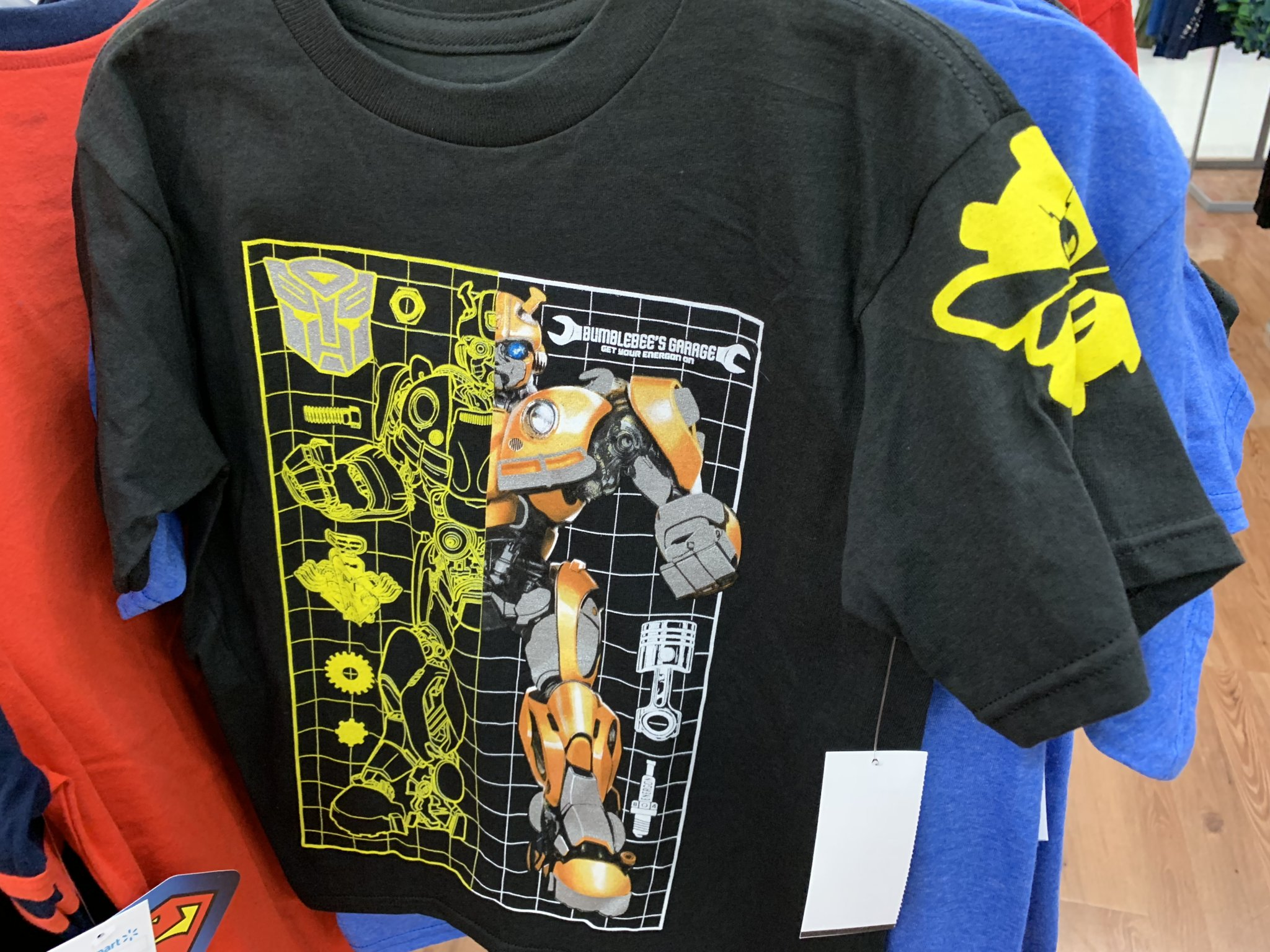"78cfa11b Bumblebee Movie ""Bumblebee's Garage"" Kids T-Shirt Found At Walmart ..."