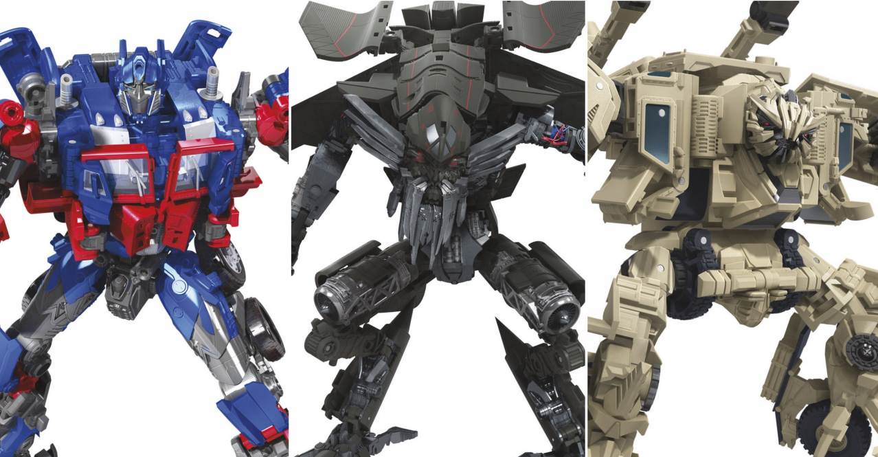 transformers studio series optimus prime, jetfire and bonecrusher