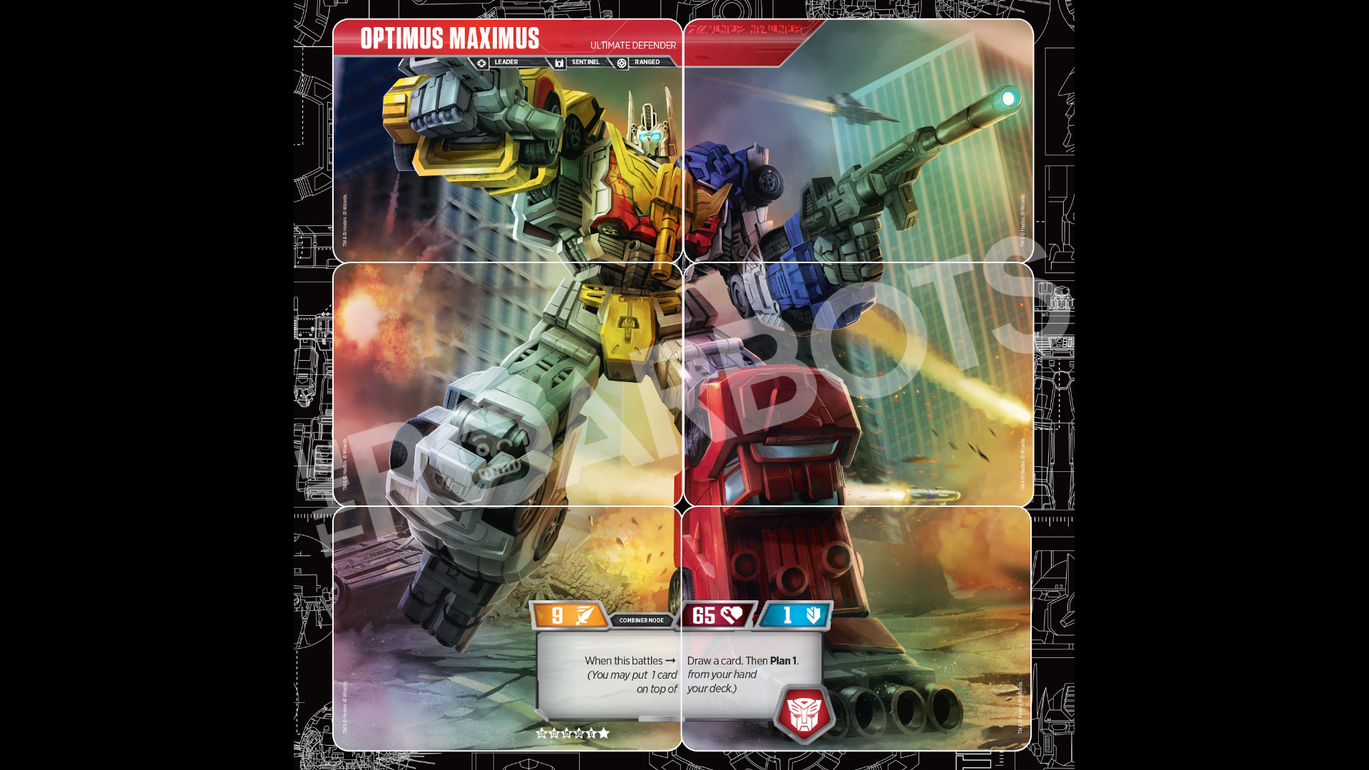transformers trading card game reveal optimus maximus