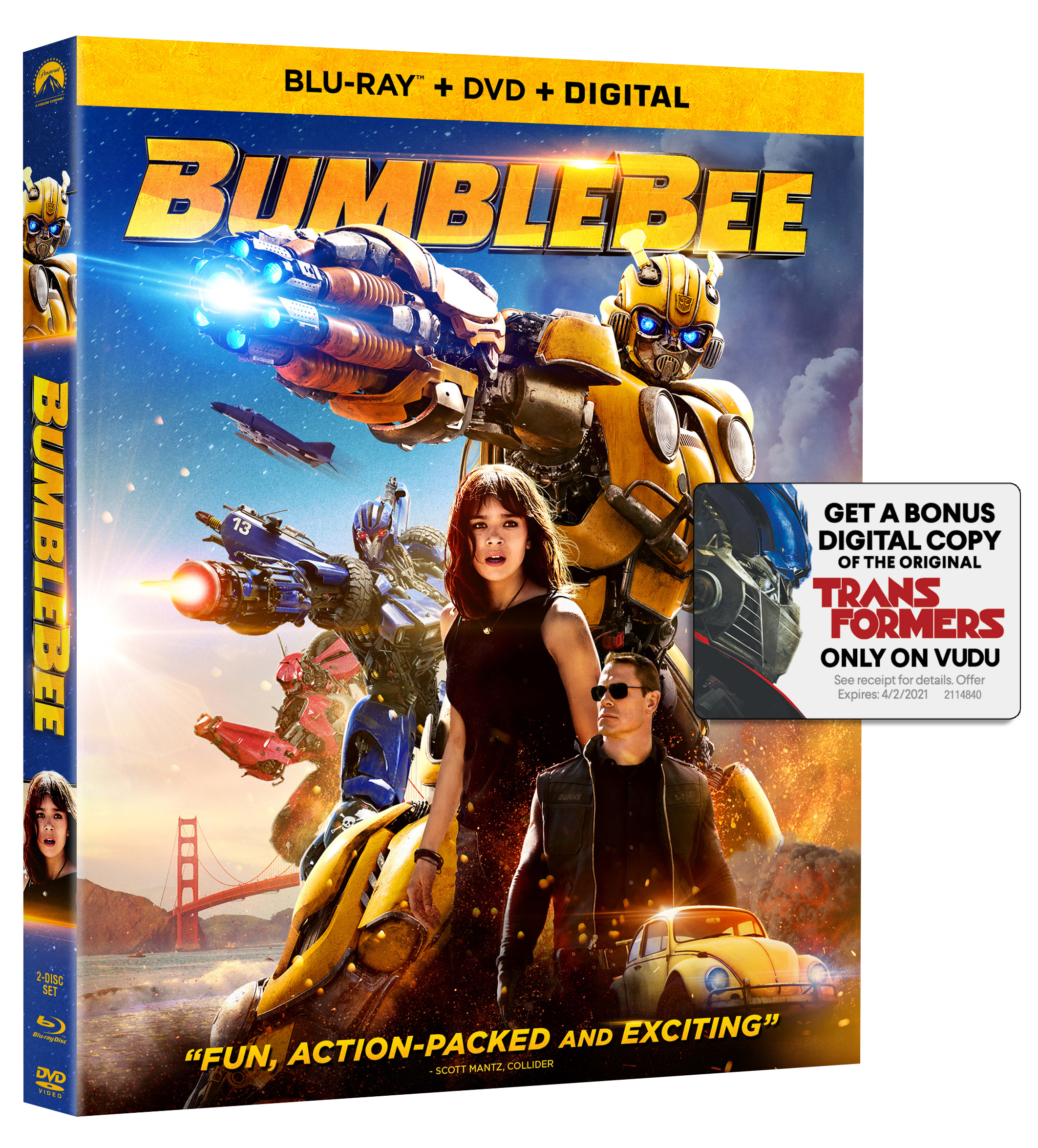 Bumblebee Movie DVD + Blu-ray Combo Pack With Free Digital