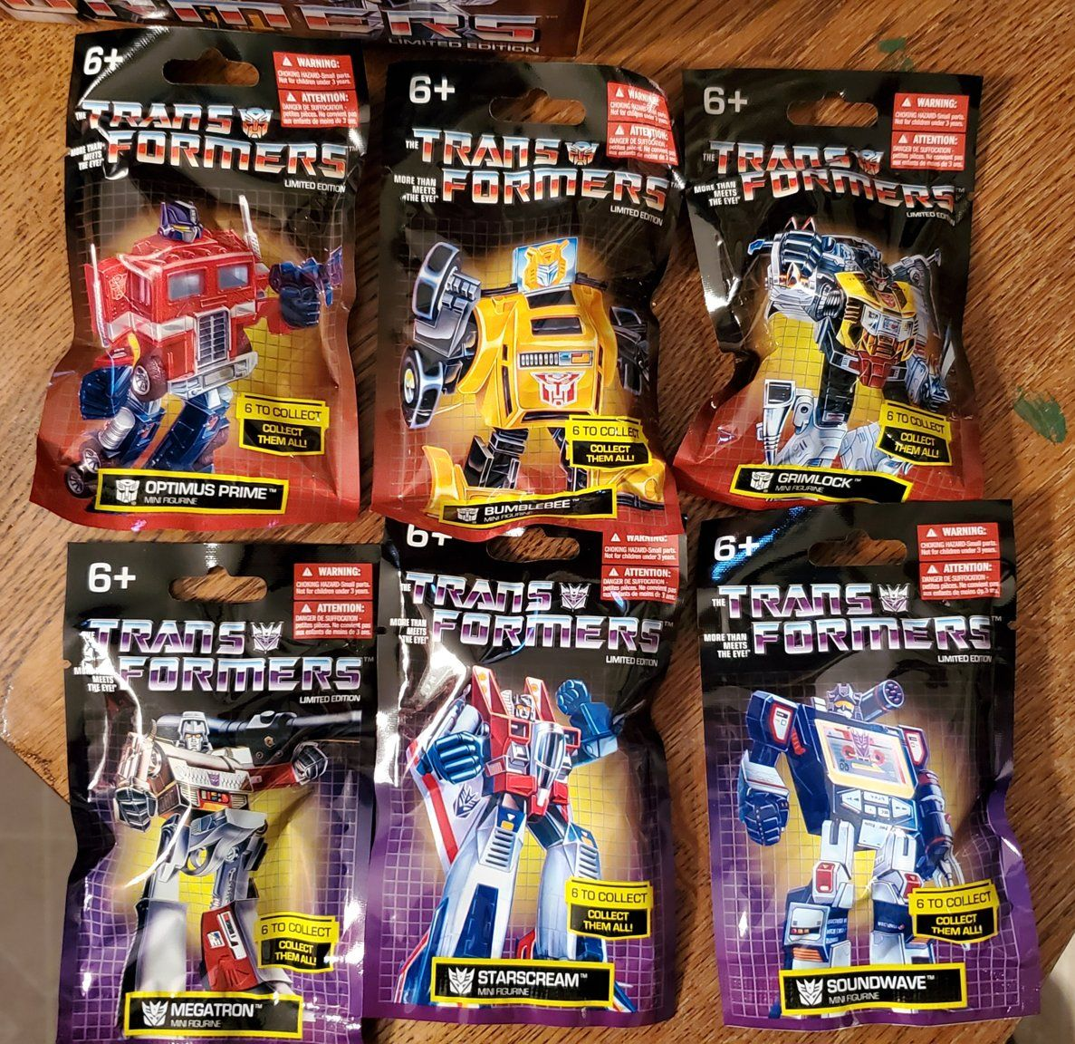 Complete Set of 6 Transformers G1 Limited Edition Mini Figurines Hasbro