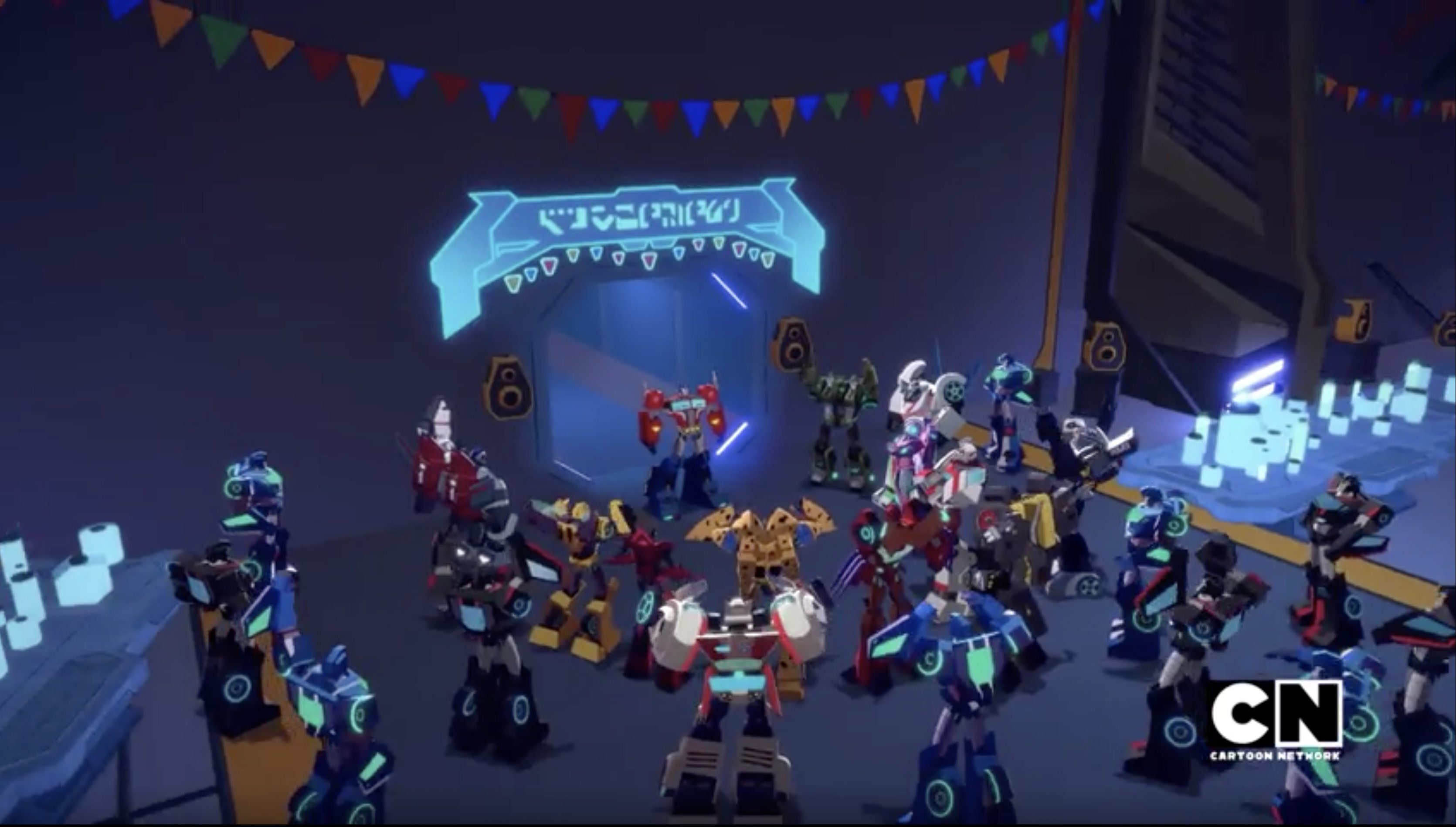 "The Autobots party in Transformers Cyberverse Season 2 episode ""Party Down"""